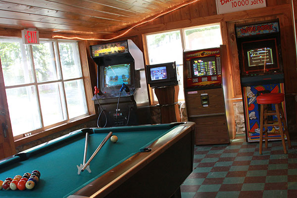 Arcade games in the Peninsula Pines Resort Lodge.