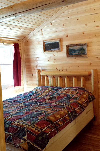 Cabin 1 (Cedar) bedroom.