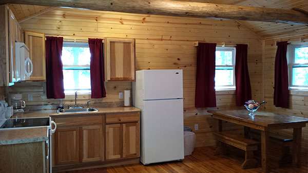 Cabin 5 (Redwood) remodelled kitchen full view