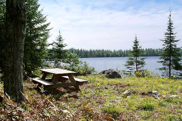Secluded picnic spot in the northwoods